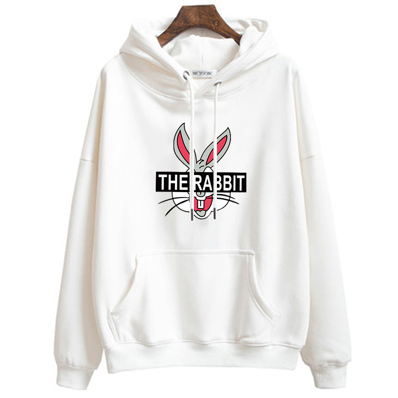 Women Hoodies Autumn Winter Thin Hooded Sweatshirt Cartoon Bugs Bunny Pullover Casual Long Sleeve Rabbit Plus Size Tops