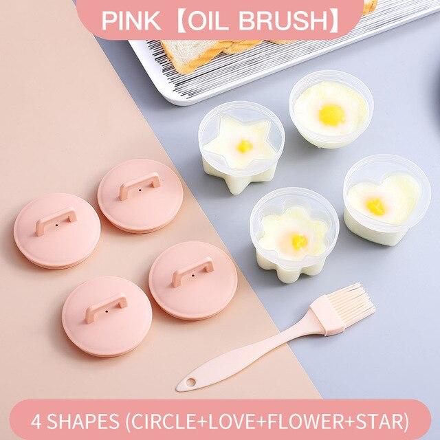 4 Pcs//Set Cute Egg Boiler Plastic Poacher Set Kitchen Egg Cooker Egg Mold Form