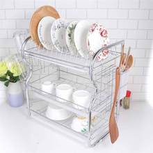 3 Layer Dish Drainer Iron Art Kitchen Cutlery Drain Rack Utensils Storage Organizer Rustproof Dishes Plates Organization Shelf(China)