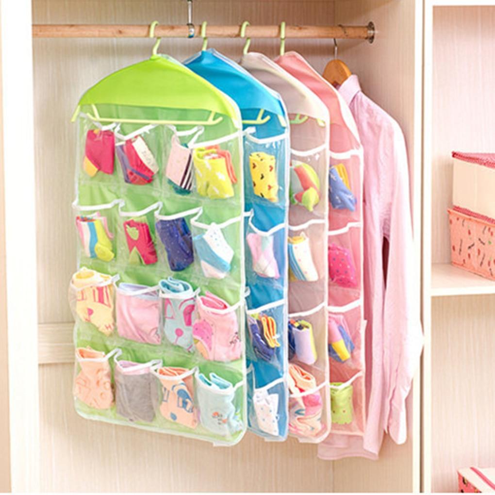 Save Space Durable 16 Pockets Pockets Socks Bra Bra Hanger Storage Organizer Wardrobe Socks Panties Pockets