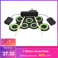 Portable Electronic Drum Digital Roll Up Drum Kit 7 Silicon Drum Pads USB Powered with Drumsticks Foot Pedals 3.5mm Audio Cable
