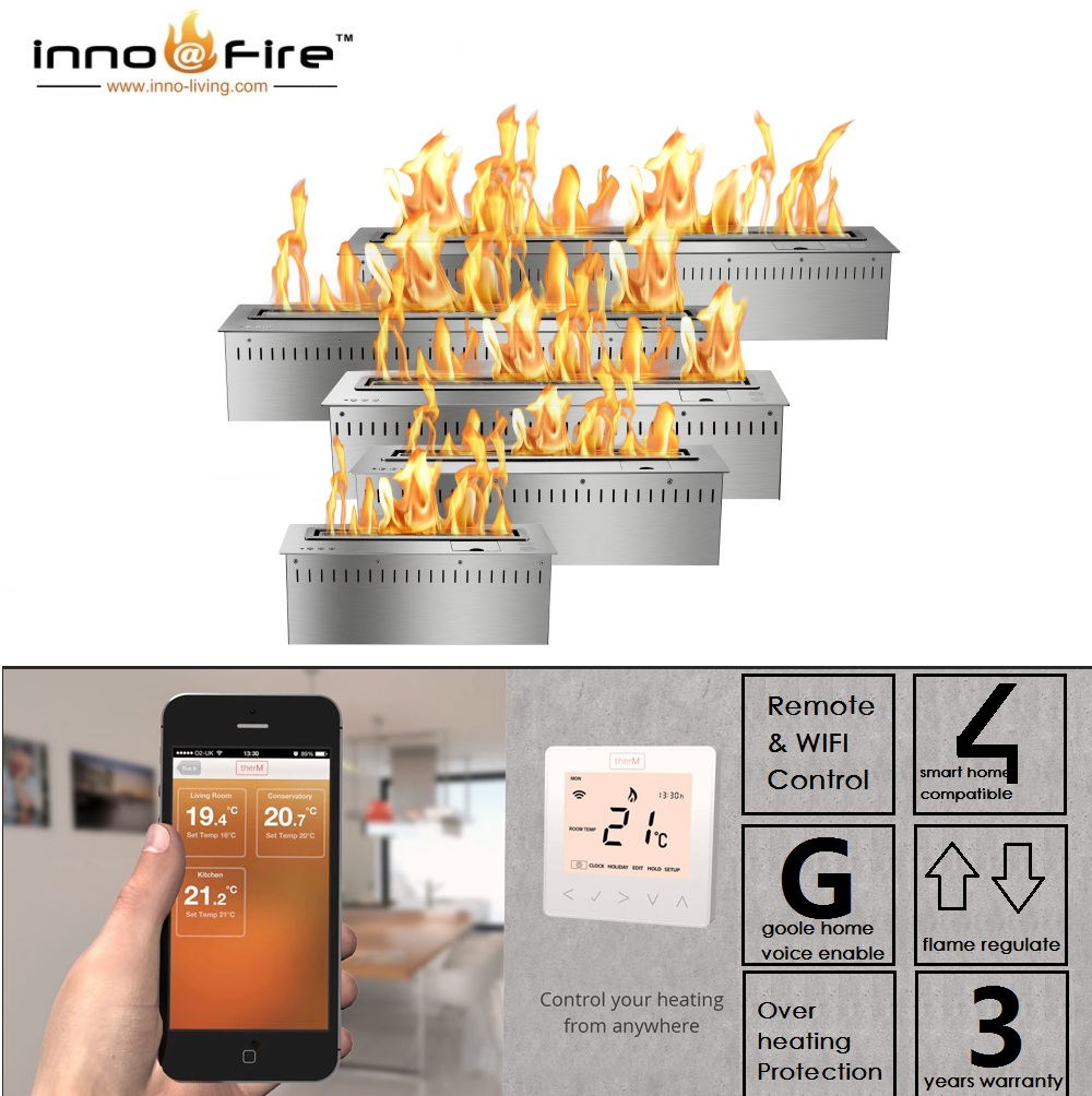 Inno Living Fire 72 Inch Wireless Control Fireplace  Bio Ethanol Fuel