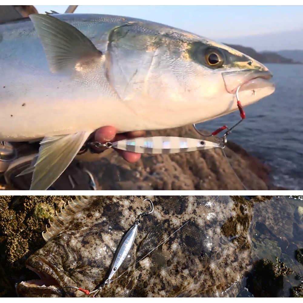 Señuelo de pesca metal jig lento Jig Metal FUNDICIÓN cuchara 20g/40g/60g/80g cebo Artificial fuera de la orilla plomo lanzamiento Jigging aparejos de pesca