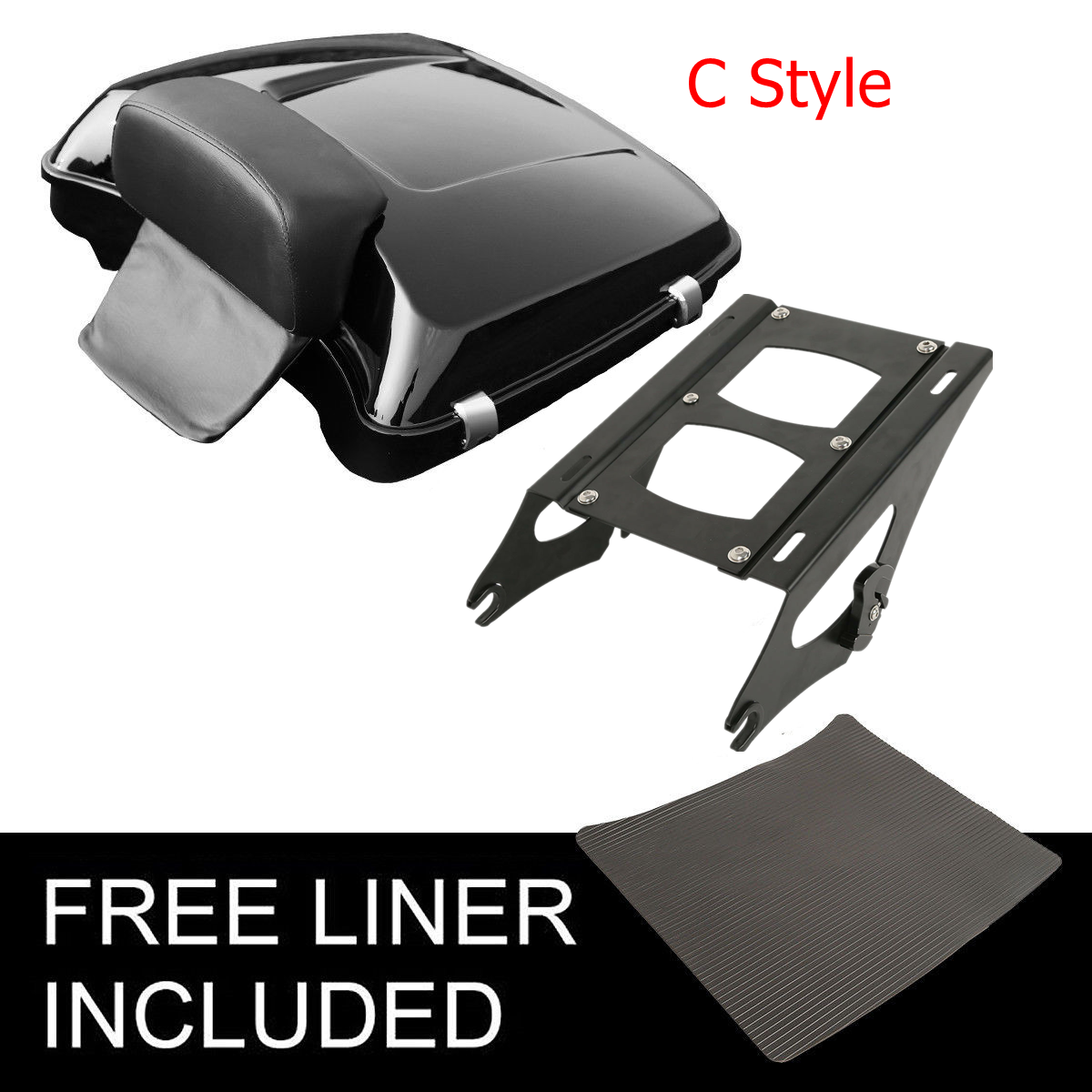 "Motorcycle 5.5"" Razor Pack Trunk Backrest Rack For Harley Tour Pak Touring Electra Glide Road King Street Glide 2014 2019"