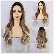 Blonde Unicorn Synthetic Ombre Wig Black to Light Brown Middle Part