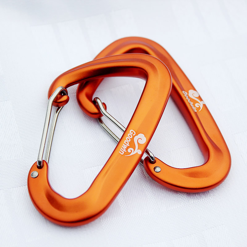 4 Pcs Aluminum Climbing Carabiner Bearing 12KN Pull Spring Flat Hole D Shape Ideal For Climbing Camping Hiking Travel Keychain
