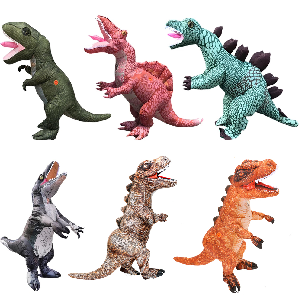 Adult T-Rex Dinosaur Inflatable Costume Halloween Cosplay Anime Carnival Disfraz Dragon Velociraptor Blow Up Dress