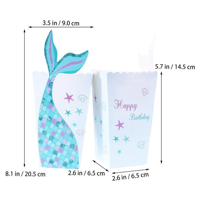 Papier Popcorn Boxen Meerjungfrau Candy Container Popcorn Box Partei Liefert Pop Mais Box Halter Snack-Box Für Kinder Party Geburtstag