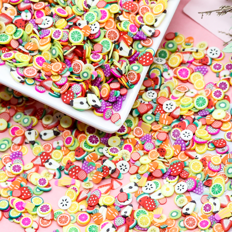1000Pcs/Bag Soft Pottery Slices Child Adult DIY Handmade Crafts Accessories Cartoon Fruit Flowers Animal Pattern Colorful Mixed