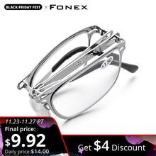 Fonex alta qualidade dobrável óculos de leitura das mulheres dos homens dobrável presbiopia leitor hyperopia diopter óculos sem fenda lh012
