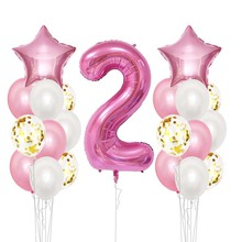 2st Happy Birthday Balloons  I Am Two Kraft Paper Banner Pink Blue 2nd Baby Boy Girl Party Decorations My 2 Year Supplies Shiny
