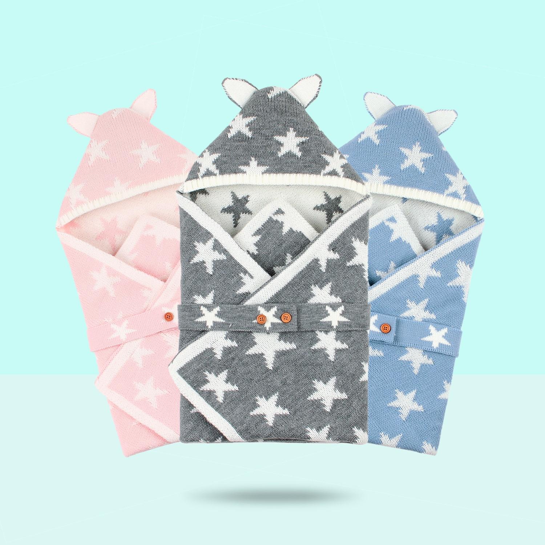 Baby Sleeping Bags Newborn Warm Gowns 70*70cm Infant Strller Swaddle Sleepsack Winter Solid Knit Newborn Boy Girl Envelopes Fall