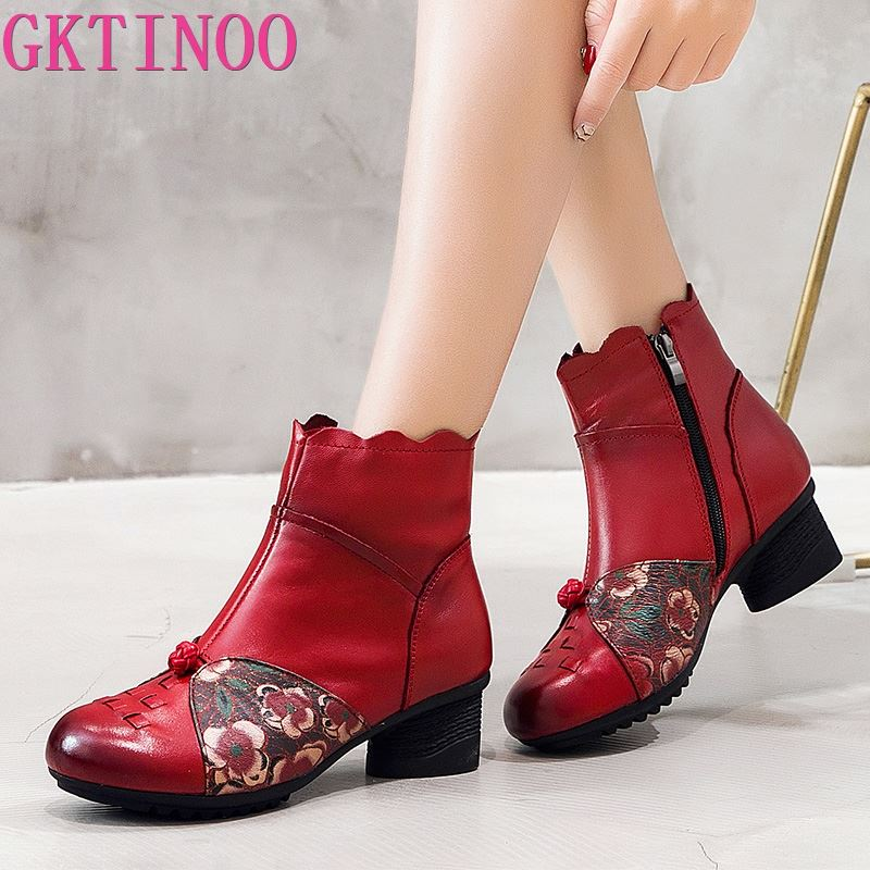 GKTINOO New Cow Leather Ankle Boots Women Shoes Genuine Leather Winter Boots Soft Flower Comfortable Warm High Heel Boots