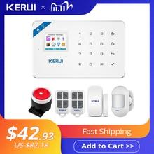 KERUI – Détecteur de mouvements, modèle KR W18, capteur de fumée APP avec système dalarme anti intrusion et à incendie, écran de 1,7 pouces, Wifi, GSM