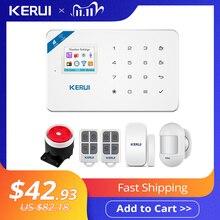 KERUI sistema de alarma de seguridad para el hogar Detector de movimiento, Control de fuego, Detector de humo, alarma, pantalla con WIFI, GSM, TFT, 1,7 pulgadas, W18