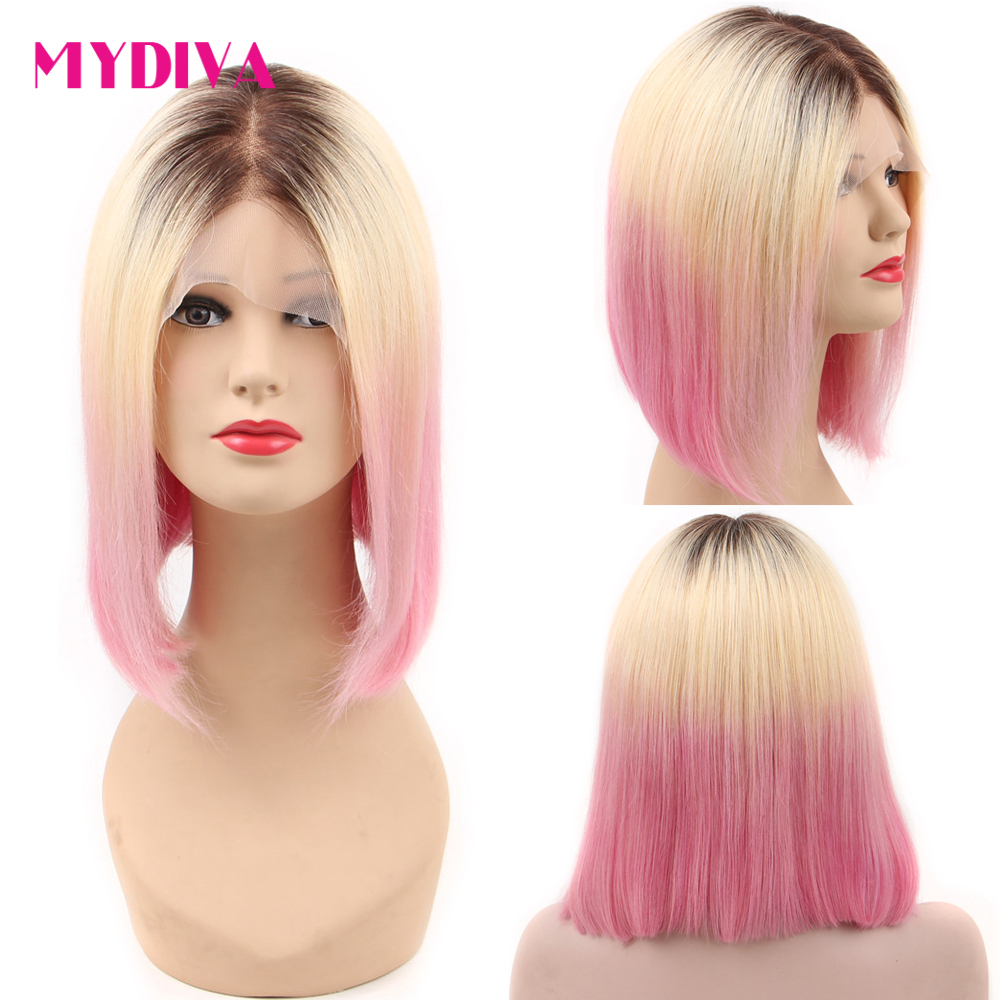 Colored Bob Lace Front Wigs Pink 613 Lace Front Wig Dark Roots Pre Colored Ombre Human Hair Wigs 13*4 Brazilian Straight Remy image