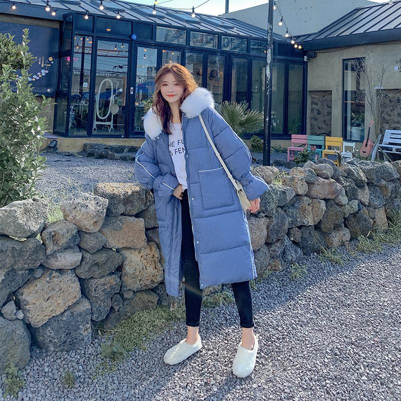 Image 2 - Han edition heavy hair led to film the new female long down jacket cap loose cotton coat of long big yardsParkas   -