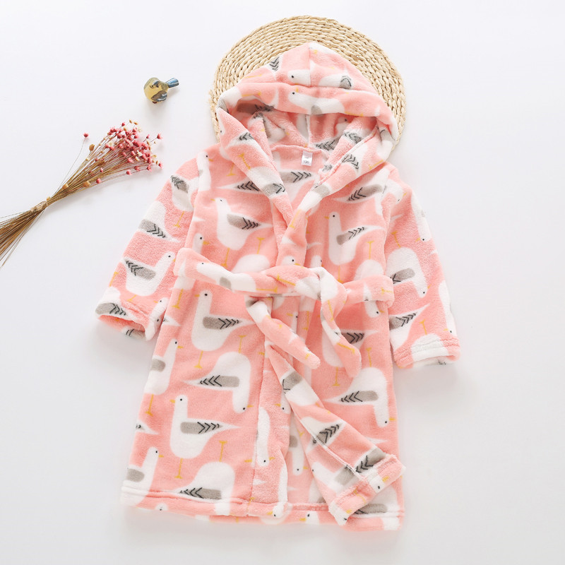 Autumn And Winter New Style CHILDREN'S Bathrobes BOY'S Girls Flannel Long Sleeve Hooded Lace-up Nightgown Tracksuit