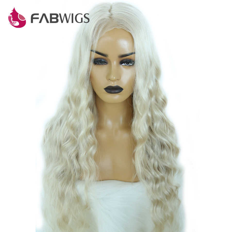 Fabwigs #60 Kül Sarışın Dantel Ön İnsan Saç Peruk Brezilyalı 13X4 Dantel Demetleri ile Frontal Kombinasyonu Peruk