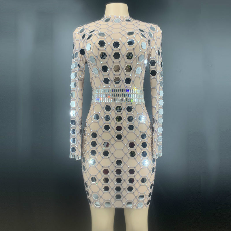 <font><b>Women</b></font> Clothing <font><b>Hot</b></font> <font><b>Sexy</b></font> Costumes Mesh <font><b>Dress</b></font> Sparkly Rhinestones Mirror Club Stage Outfit See Through Crystal Singer Show <font><b>Dresses</b></font> image