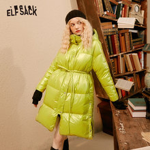 Daily Coat Women White-Duck-Down ELFSACK Outwear Hooded Oversize Winter Ladies 90-% Green
