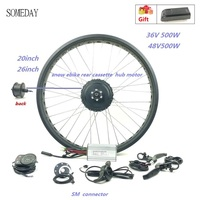 36V 48V 500W fat ebike snow ebike electric bicycle conversion kit 20inch 26inch wheel rear cassette hub motor LED900S display