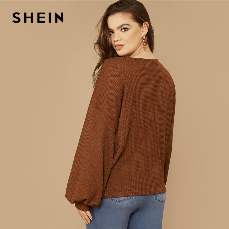 SHEIN Plus Size Brown Drop Shoulder Lantern Sleeve Waffle Knit Top Women Spring Long Sleeve V-Neck Basic Casual T-shirts 2