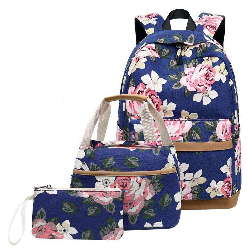 Litthing 3 Pcs School Backpacks For Teen Girls School Bags Kids Bags Children Travel Floral Canvas Backpack Bookbags Set