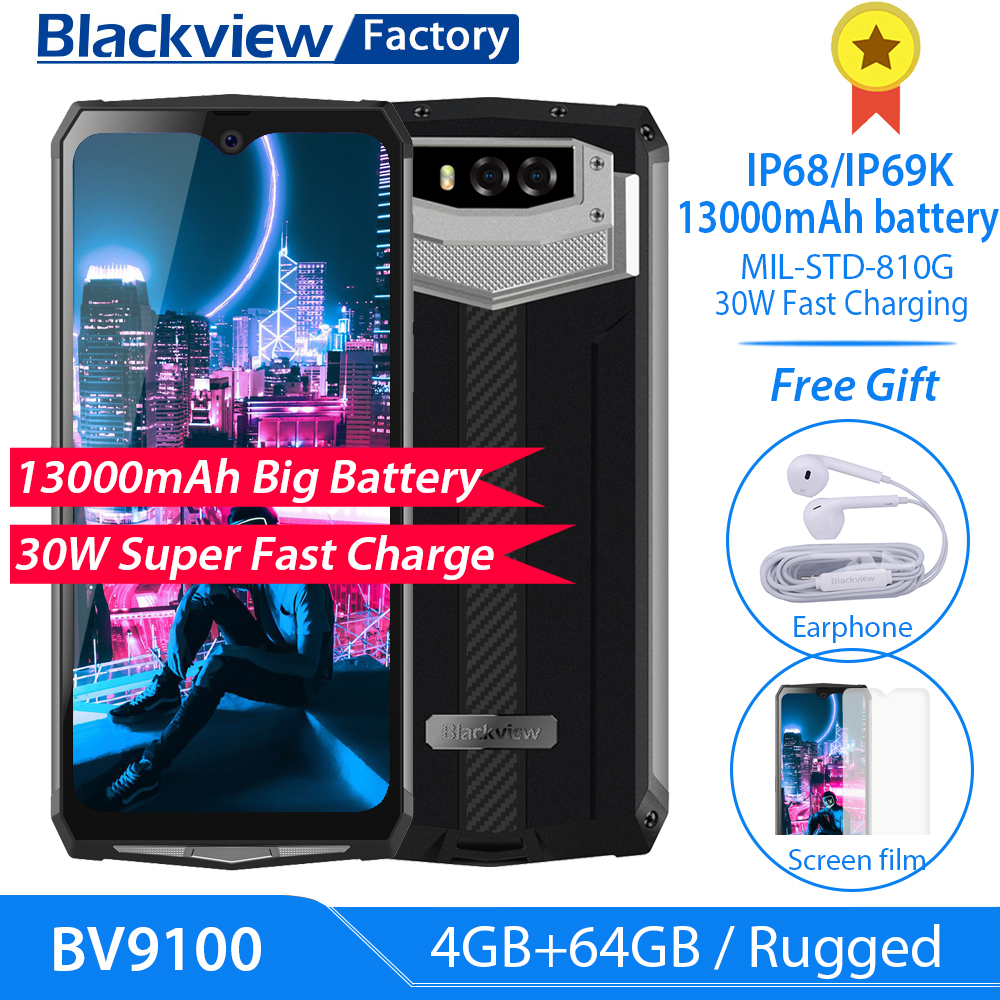 "Blackview BV9100 13000mAh Rugged Phone 30W Fast Charge 6.3""FHD 4GB+64GB 16.0MP Mobile Phone Octa Core Android 9.0 NFC Smartphone"