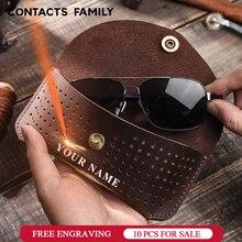 בעבודת יד פרה עור עין משקפיים תיק משקפי שמש מגן מקרה Protable משקפיים תיבת משקפיים אחסון PouchHolder אופנה