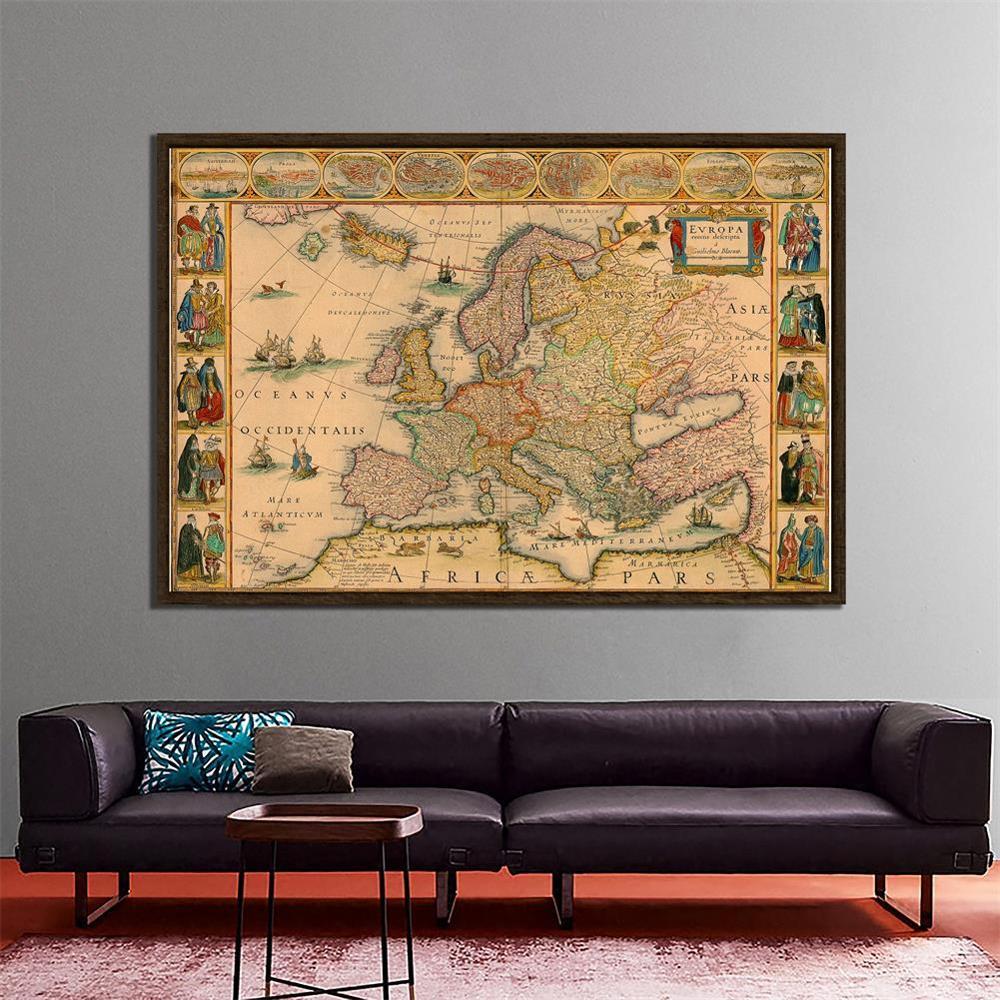 Vintage European Map 150x100cm Medieval Decorative Map Photography Background Cloth Photo Studio Propos Backdrops