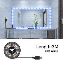 цены на Makeup Vanity Mirror Light 5V Strip LED Flexible Tape USB Cable Powered 5M Light Strip Dressing Table Lamp Decor Make Up Mirror  в интернет-магазинах