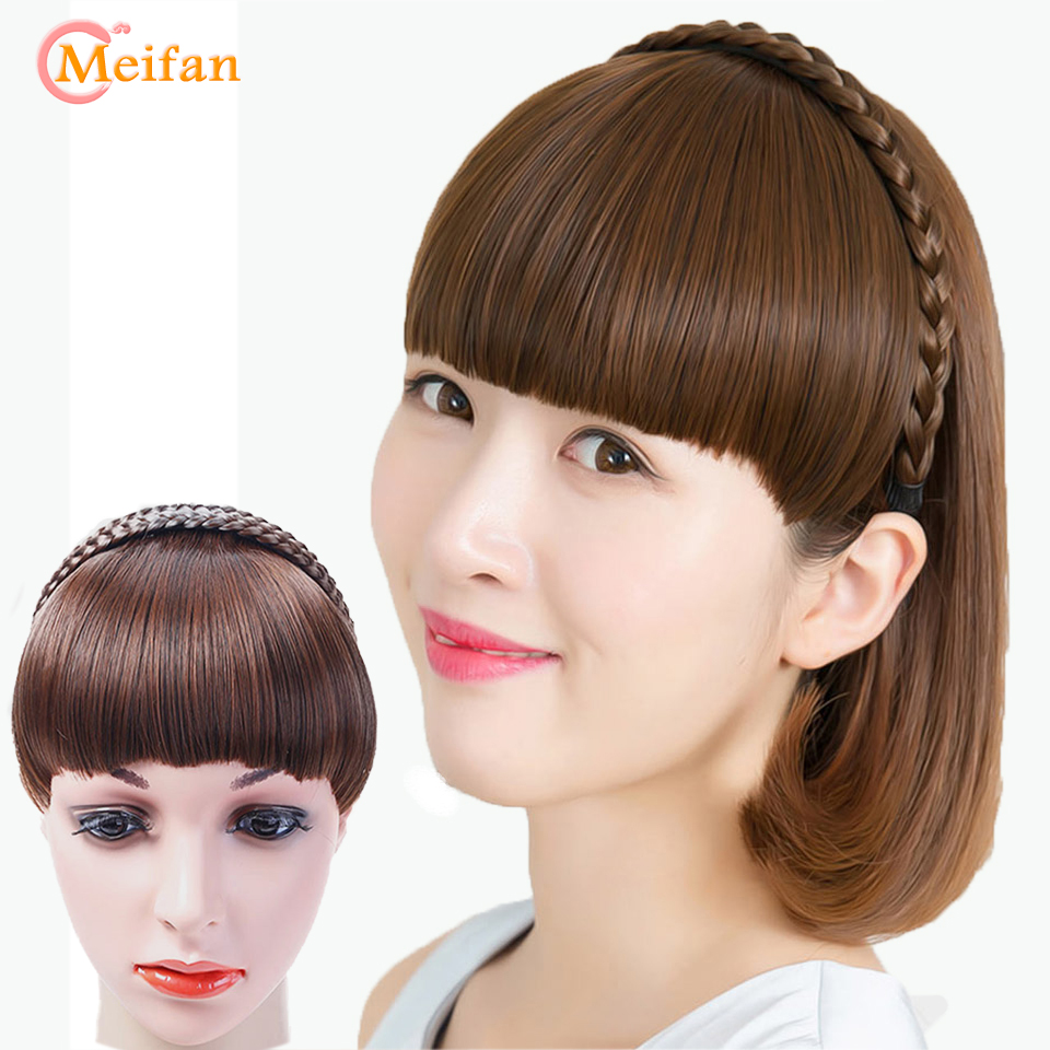 Synthetic Hair Neat Fringe Bands With Double Row Braids Headband Heat Resistant Bangs In Hair Extensions Hairpieces