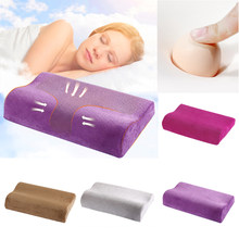 1PC Memory Foam Neck Pillow For Sleeping Orthopedic Pain Relief Bedding Pad Solid Velvet Pillow Health Care Cervical Dropship(China)