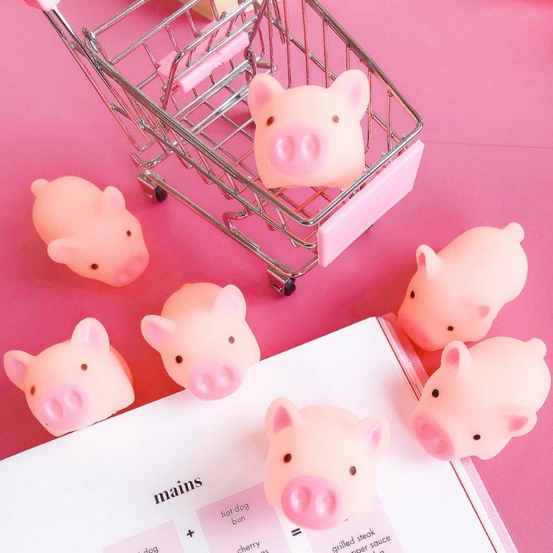 Cute Rebound Pink Cartoon Pig Anti-stress Toy Piggy Sounding Silicone Squeeze Toys Stress Relief Toy Funny Kids Gift  DIY Decor