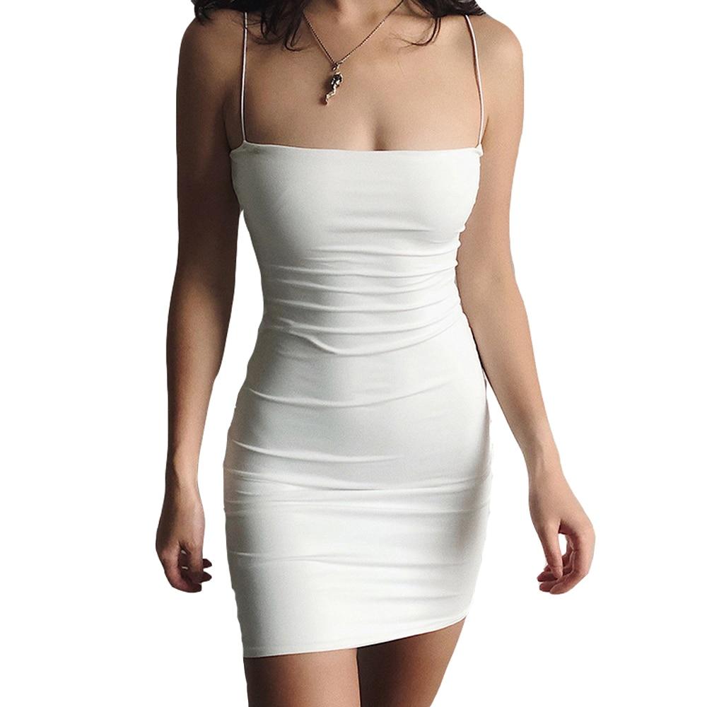 White Sexy Dress Women Spaghetti Strap Dresses Female High Waist Sheath Club Dress Short Summer 2020 Mini Sleeveless Vestidos 3