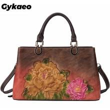 Gykaeo Female Retro Genuine Leather Bags Women Large Capacity Floral Cowhide Tote Bag Ladies Shoulder Bags Sac A Main Femme 2020