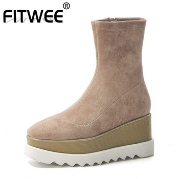 FITWEE Women 2020 Comfortable Ankle Boots Real Leather Thick Bottom Platform Casual Daily Winter Boots Woman Shoes Size 34-39