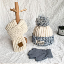 Outono inverno chapéu do bebê cachecol luva conjunto de lã quente das crianças chapéu pescoço envoltório meninos e meninas adorável tricô lã chapéus e cachecóis