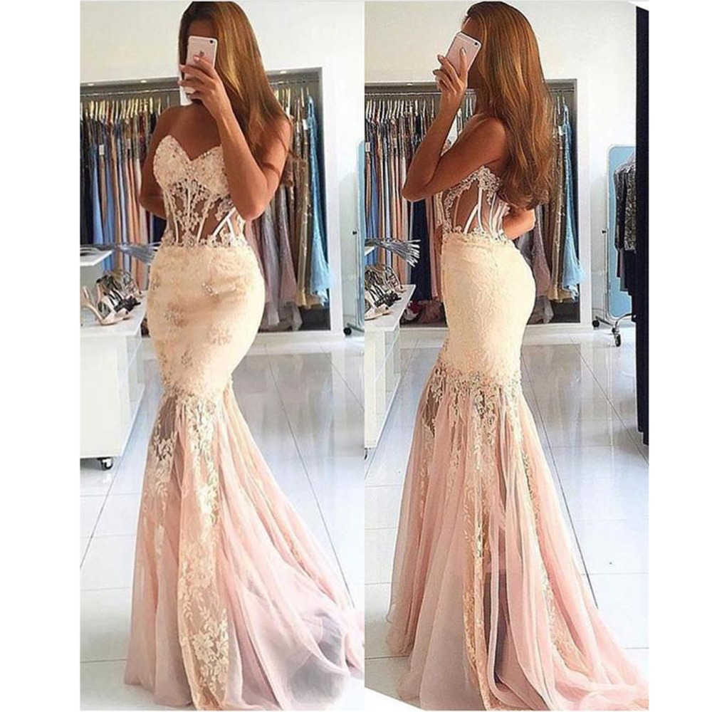 Backless   Prom     Dress   2019 Mermaid Sweetheart Tulle Appliques Lace Beaded Long   Prom   Gown Evening   Dresses   Robe De Soiree