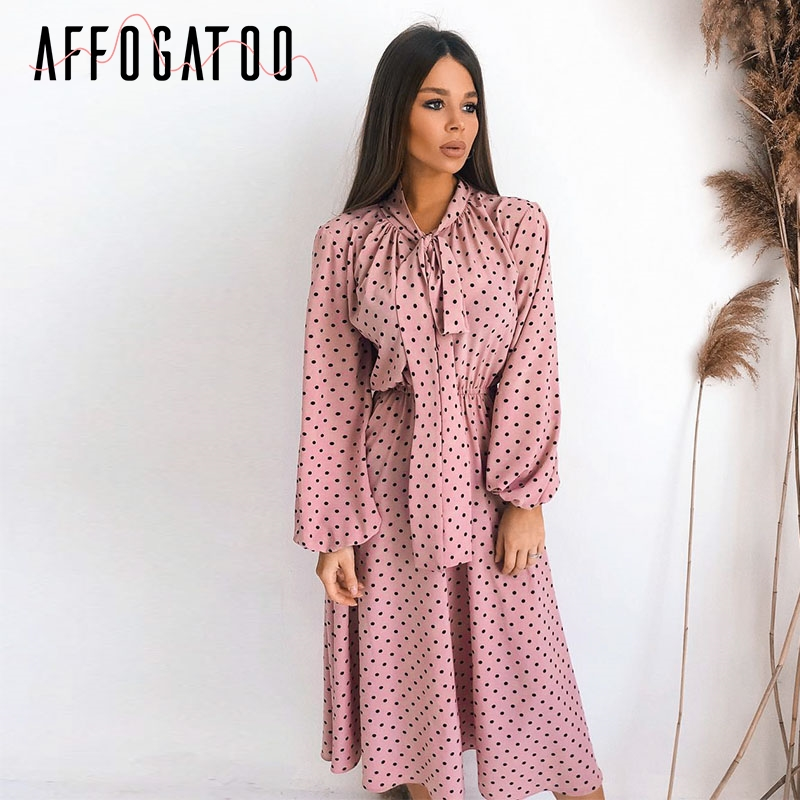 Affogatoo Elegant Polka Dot Maxi Pink Dress Women Autumn Winter Lantern Sleeve Long Dress Casual Holiday Ladies Bow Party Dress