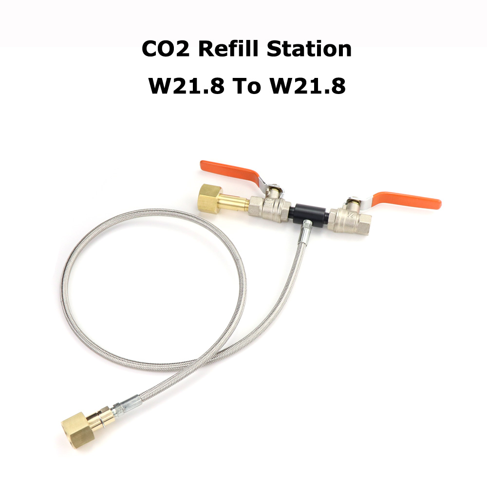 NEW Deluxe Dual Valve CO2 Fill Station Adapter With Gauge 36Inch High Pressure Hose W21.8-14 To W21.8-14