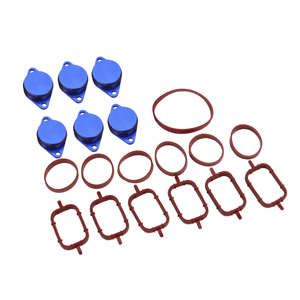 6x 22MM 6X 33MM Diesel Swirl Flap Blanks Repair Delete Kit With Intake Manifold gaskets For BMW Previous M57 E60 E90 image