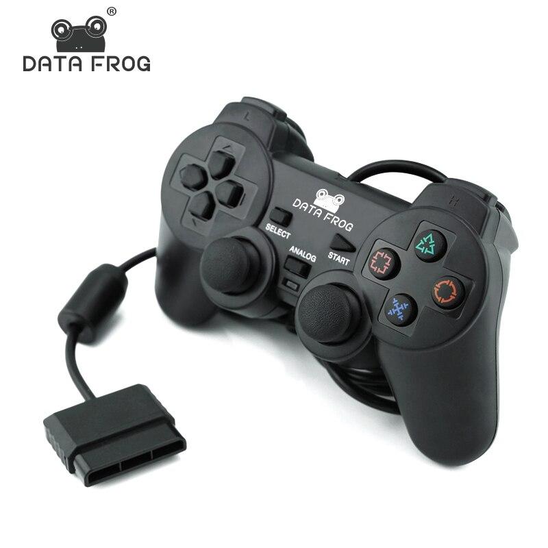 Dados sapo com fio gamepad para sony ps2 controlador wilreless gamepads vibração dupla para ps2 controle joystick para playstation 2