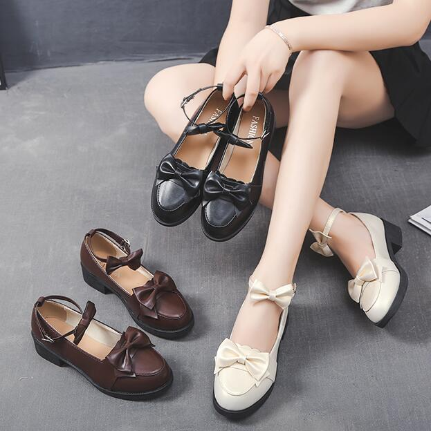 England style sweet <font><b>lolita</b></font> <font><b>shoes</b></font> vintage round head thick heel women <font><b>shoes</b></font> cute bowknot one-word buckle kawaii <font><b>shoes</b></font> loli cos image