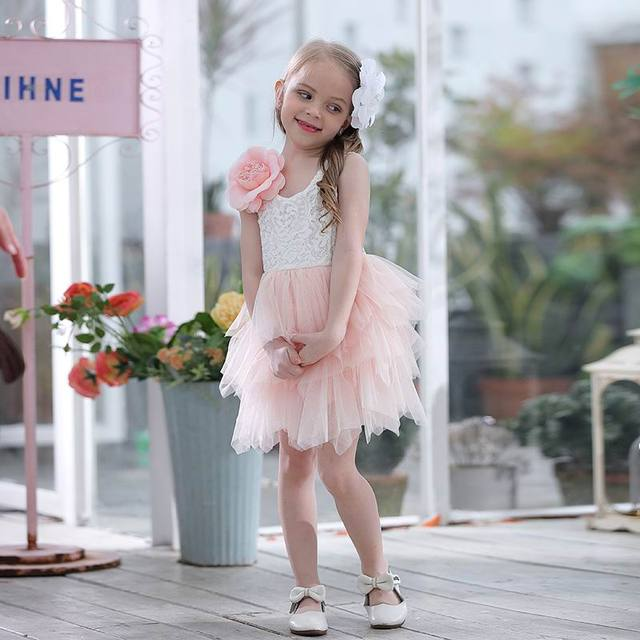 Summer Lace Girls Dress Gauze Kids Princess Dresses for Girl Vest Dress Party Dress Baby Clothes E16900