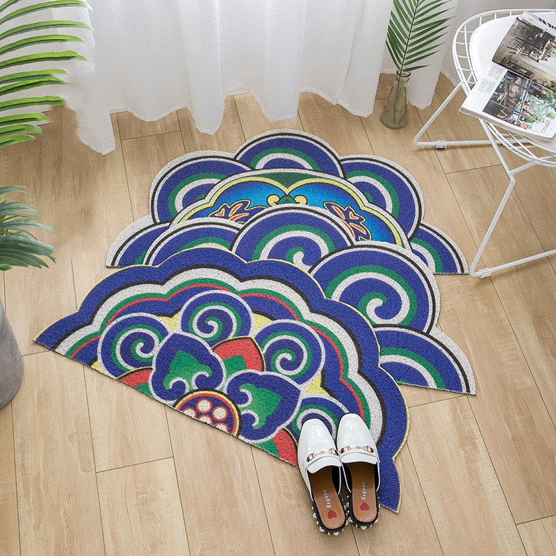 Wishstar Ethnic Stlye Blue Half Flower Shape Kitchen Floor Mat Thick Door Mat 45*90 Half Round PVC Material Rug For Entrance