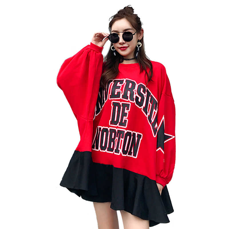 QING MO 2019 Spring Autumn Batwing Sleeve Dress Women Letters Dress Red Irregular Dress AD1218A