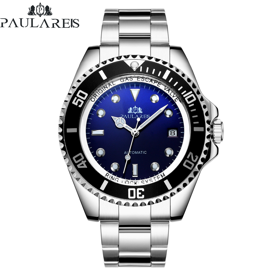 Automatic Self Wind Mechanical Stainless Steel Strap Gold Silver Gradient Black Blue Dial Date Business Men Watch