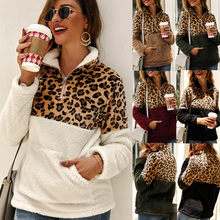 2019 Women Fleece Sweatshirt Winter Casual Faux Fur Leopard Patchwork Fluffly Female Warm Turtleneck Zipper Thick Tops WWW1059(China)